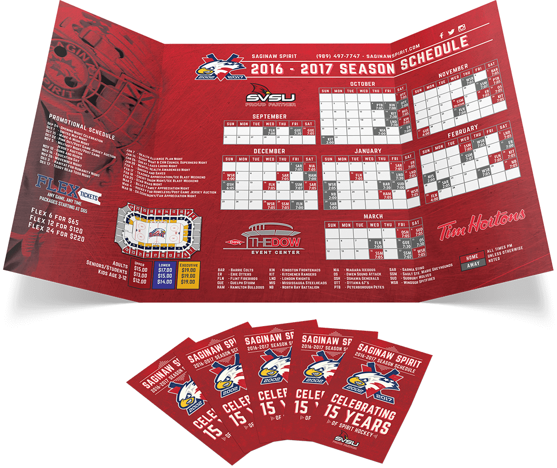 for the third straight year saginaws ohl team hired us to design their pocket schedules the tiny folded print pieces include everything a fan would need