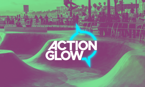 ActionGlow logo over green skate park
