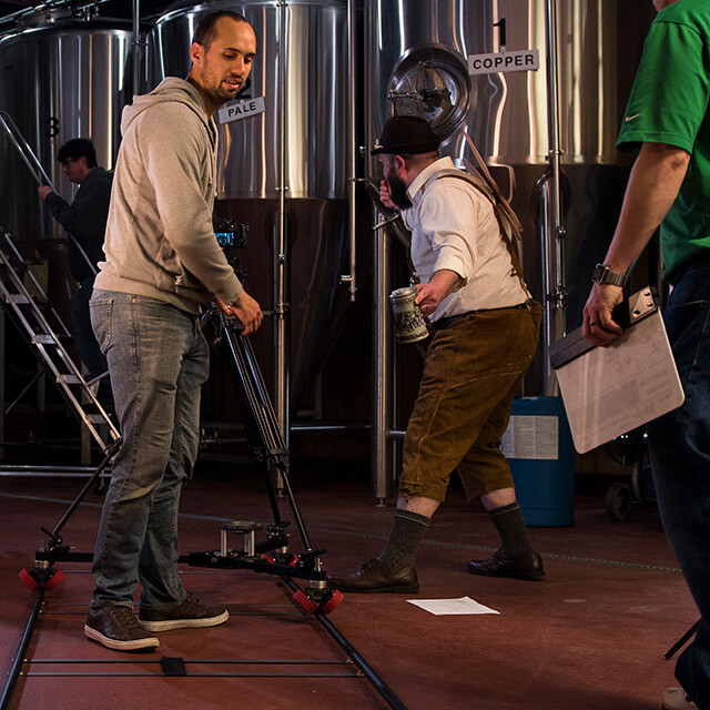 filming a scene with a dolly