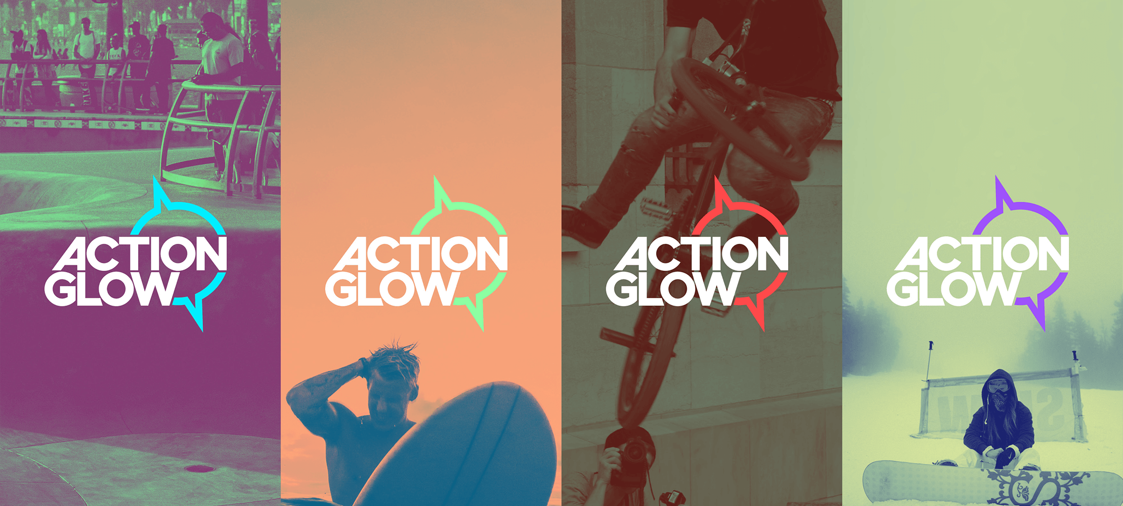 actionglow logo in multiple colors