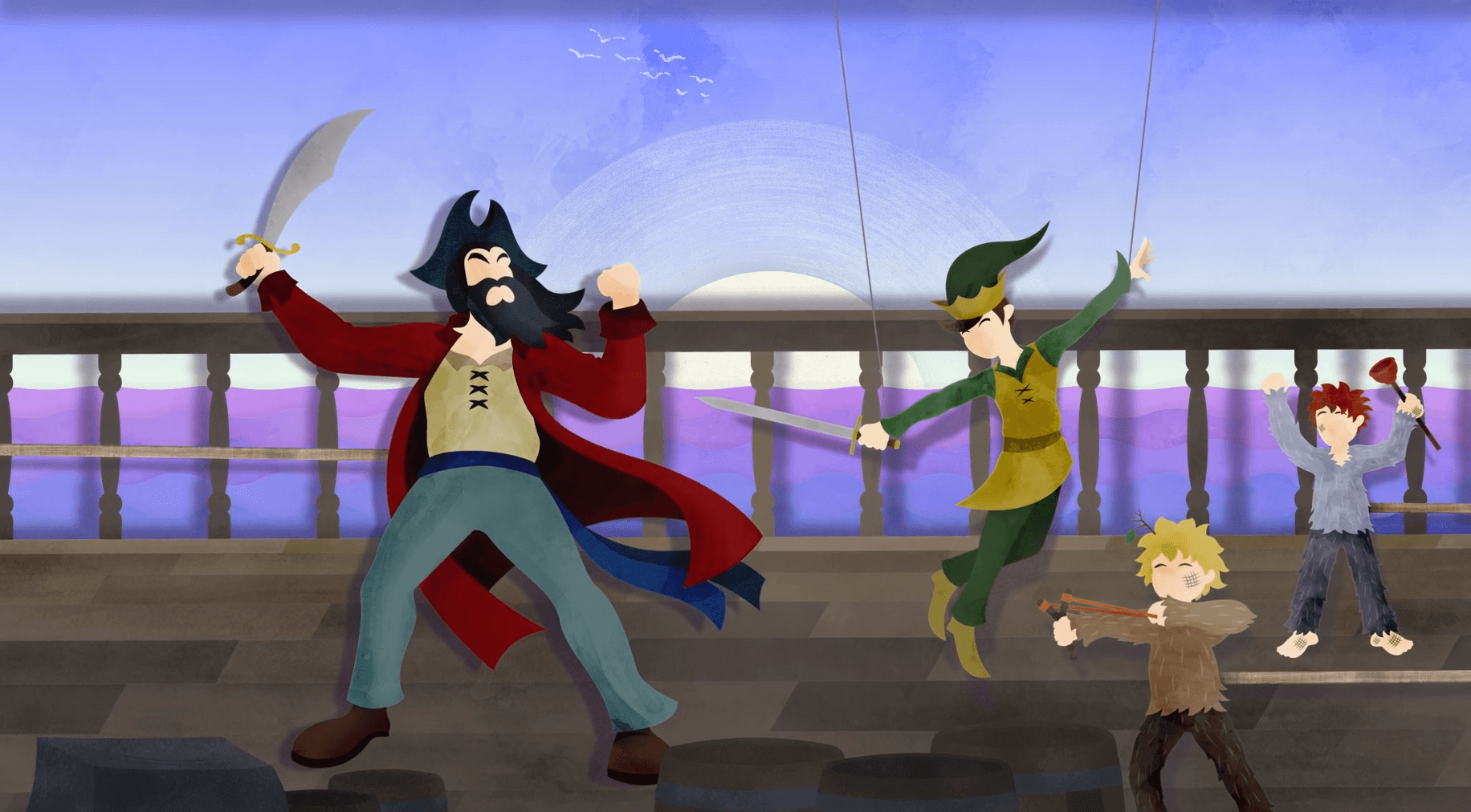 peter pan fighting captain hook on a ship
